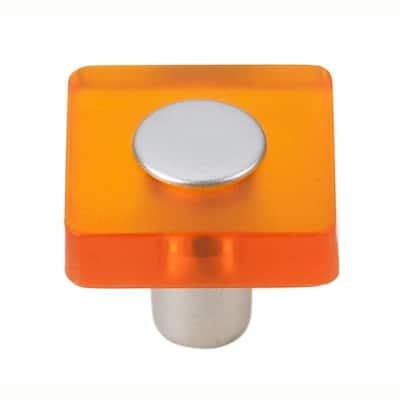 Decco 1-3/16 in. Orange/Matte Aluminum Square Cabinet Knob