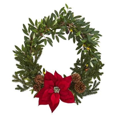 20in. Olive with Poinsettia Artificial Wreath