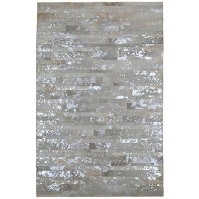 White Leather Hair-On 5 ft. x 8 ft. Area Rug