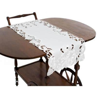 Delicate Lace 16 in. x 34 in. White Embroidered Cutwork Table Runner