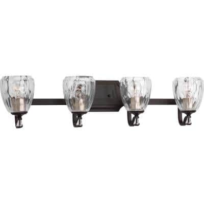 Anjoux Collection 4-Light Antique Bronze Clear Water Glass Luxe Bath Vanity Light