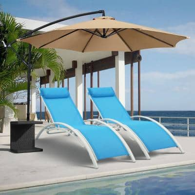 2-Piece White Aluminum Outdoor Chaise Lounge with Blue Cushions
