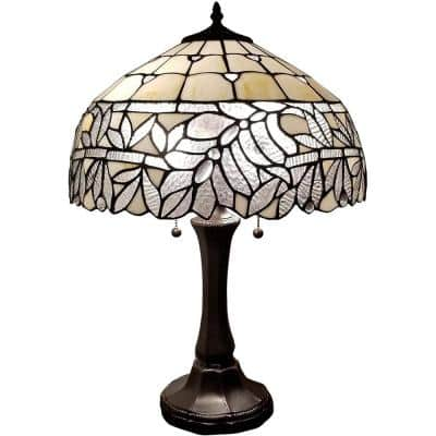 Tiffany 23 in. White and Grey Table Lamp with Stained Glass Shade and Banker Base