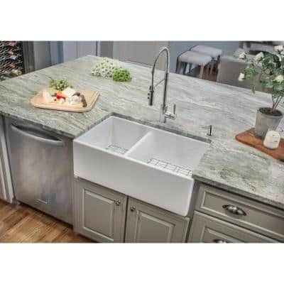 Farmhouse Apron Front Fireclay 33 in. 40/60 Double Bowl Kitchen Sink in White with Grids and Strainers