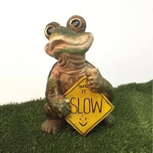 15 in. H Standing Whimsical Turtle with Take it Slow Caution Sign Home and Garden Statue