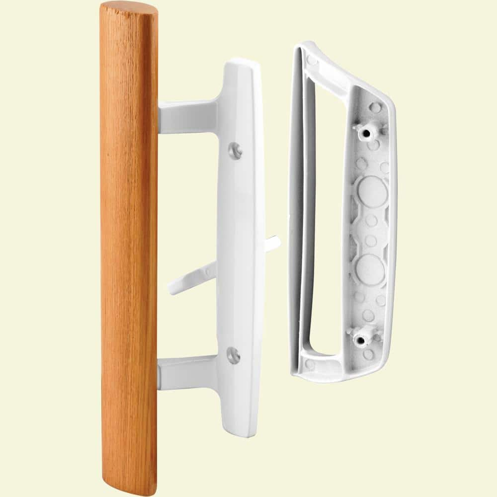 prime line sliding glass door handle set 3 15 16 in diecast white mortise hook style c 1204 the home depot
