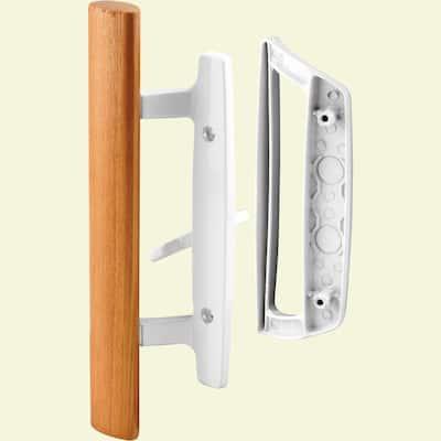 Sliding Glass Door Handle Set, 3-15/16 in., Diecast, White, Mortise/Hook Style