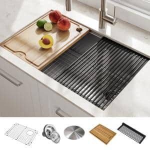 Kore Workstation 27 in. 16-Gauge Undermount Single Bowl Stainless Steel Kitchen Sink with Accessories