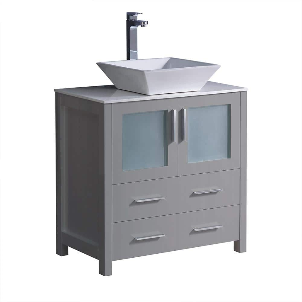 Fresca Torino 30 In Bath Vanity In Gray With Glass Stone Vanity Top In White With White Vessel Sink Fcb6230gr Cwh V The Home Depot