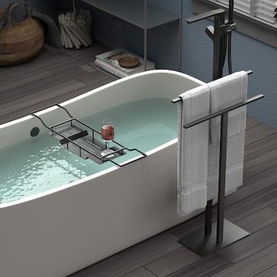 Modern 2-Bar Level Floor Standing Towel Rack Holder in Matte Black