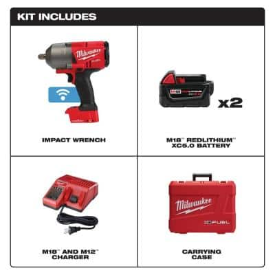 M18 FUEL ONE-KEY 18-Volt Lithium-Ion Brushless Cordless 1/2 in. Impact Wrench w/ Pin Detent Kit w/(2) 5.0Ah Batteries