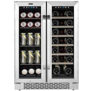 24 in. Built-In French Door Dual Zone 20-Bottle Wine and 60-Can Beverage Cooler