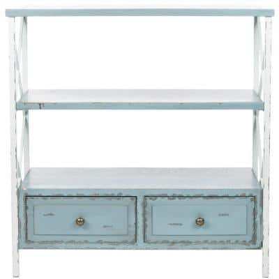 Chandra 34 in. Pale Blue/White Smoke Standard Rectangle Wood Console Table with Drawers