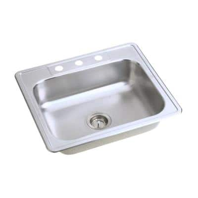 Dayton Drop-In Stainless Steel 25 in. 3-Hole Single Bowl Kitchen Sink