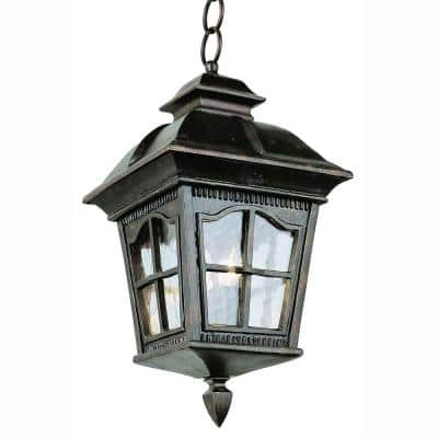 Briarwood 4-Light Antique Rust Outdoor Pendant Light with Water Glass