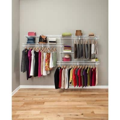 ShelfTrack 7 ft. to 10 ft. 13.4 in. D x 120.5 in. W x 79.9 in. White Wire Steel Closet System Organizer Kit