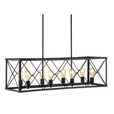 Galax 39 in. 8-Light Oil Rubbed Bronze Adjustable Iron Farmhouse Industrial LED Pendant