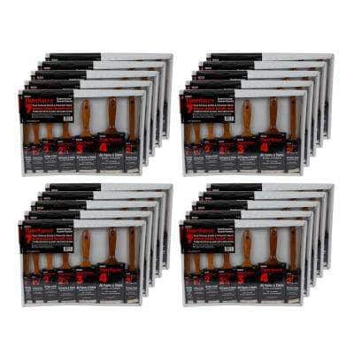 Time Saver 1, 1.5, 2,  2.5, 3  and 4 in. Flat, 2 in. Angled Sash Polyester/Bristle Blend Paint Brush Set (20-Pack)