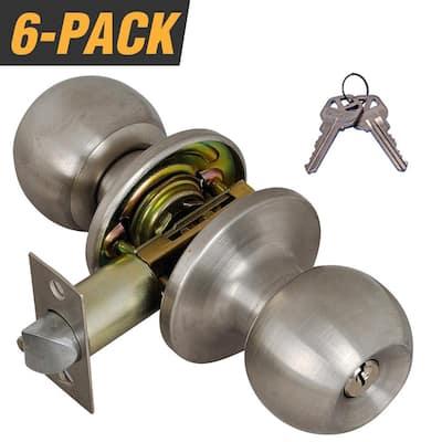 Stainless Steel Entry Door Knob with 12 KW1 Keys (6-Pack, Keyed Alike)