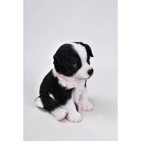 Realistic Looking Black and White Border Collie Sitting Garden Statue