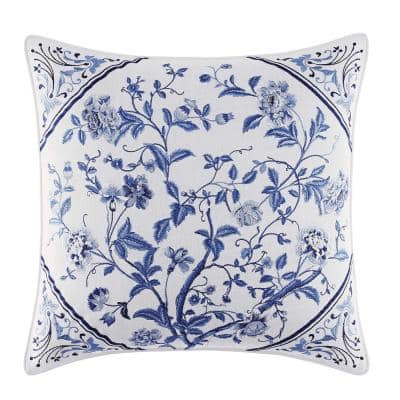 Charlotte Blue Multicolored Floral Cotton Blend 16 in. x 16 in. Throw Pillow