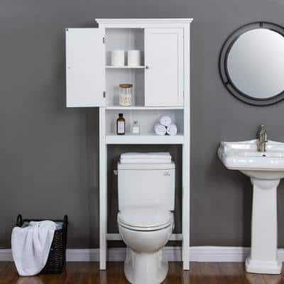 26 in. W x 68.26 in. H x 9.25 in. D White Over-the-Toilet Storage