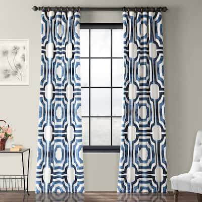 Mecca Blue Geometric Rod Pocket Room Darkening Curtain - 50 in. W x 96 in. L
