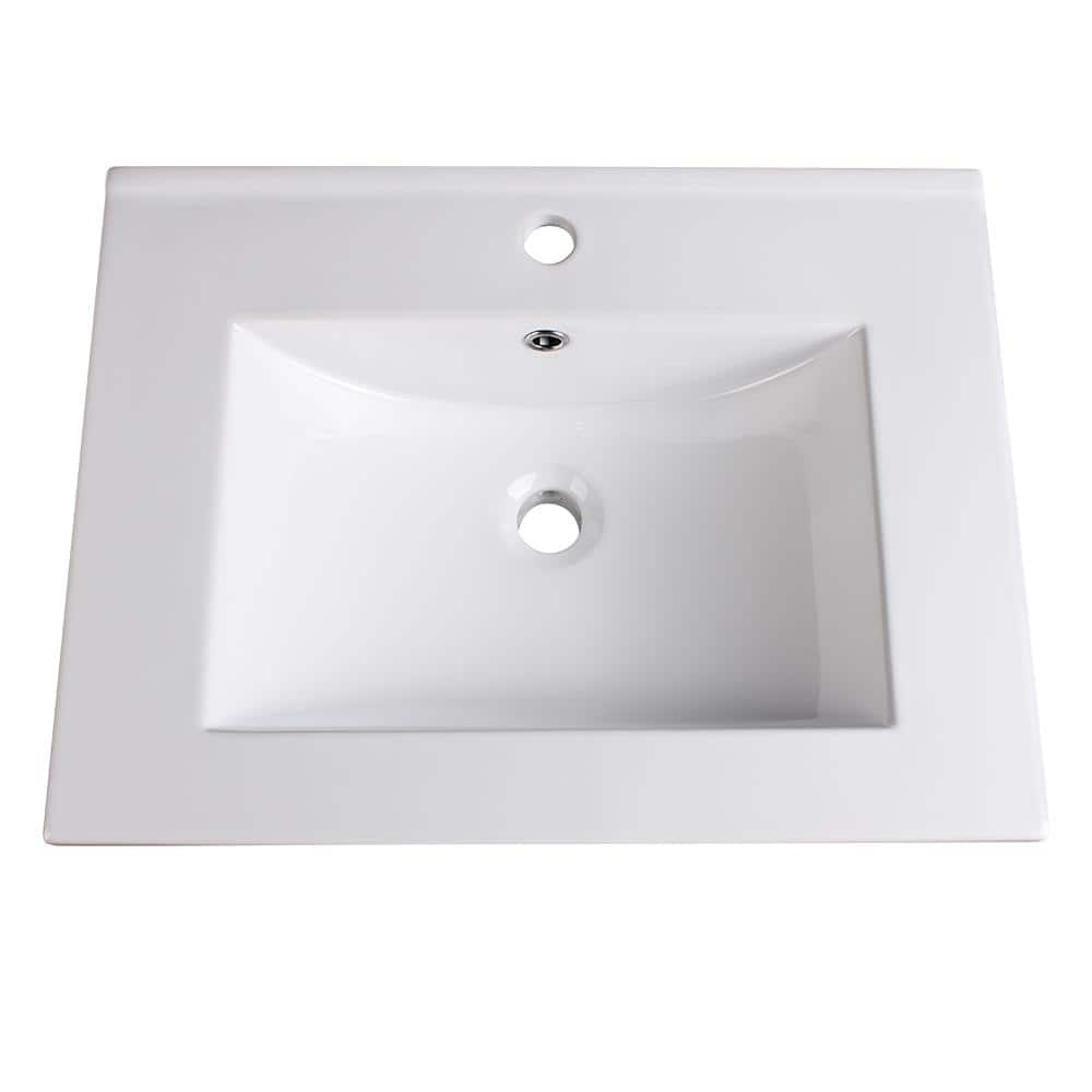 Fresca Torino 24 In Drop In Ceramic Bathroom Sink In White With Integrated Bowl Fvs6224wh The Home Depot