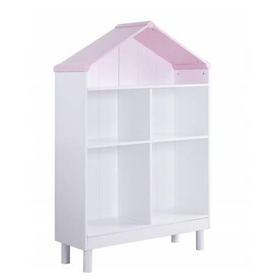 Amelia 56 in. White/Pink Wood 3-Shelf Bookcase