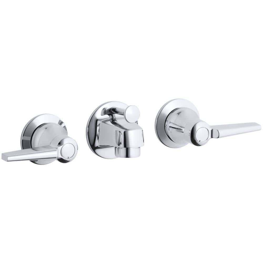 Kohler Triton Shelf Back 2 Handle Wall Mount Commercial Bathroom Faucet With Pop Up Drain And Lever Handles In Polished Chrome K 8040 4a Cp The Home Depot