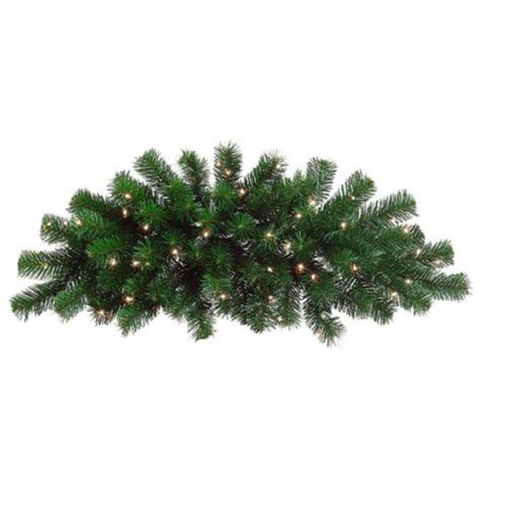 Northlight 28 Ft Pre Lit Deluxe Windsor Pine Artificial Christmas Swag With Clear Lights 32624596 The Home Depot