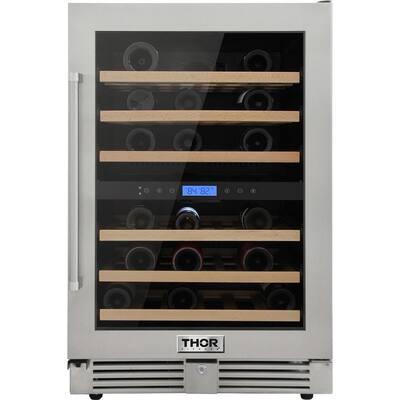 24 in. 46-Bottles Built-in Indoor/Outdoor Independent Dual Zone Wine Cooler