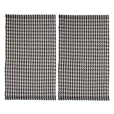 Portland Houndstooth 21 in. x 34 in. 2- Piece Black Accent Rug Set