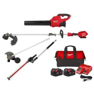M18 FUEL 18V Blower with Two 5Ah Batteries, Charger, Bag, M18 FUEL String Trimmer, Edger and Hedge Trimmer Attachment