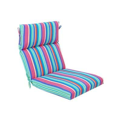 21.50 in. x 44 in. x 4 in. Outdoor Highback Dining Cushion in Antilles Stripe Sail Blue (1-Pack)