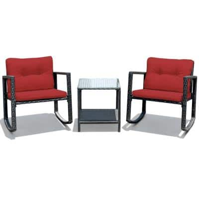 Black 3-Piece Rattan Wicker Patio Conversation Set Rocking Chairs With Red Cushions