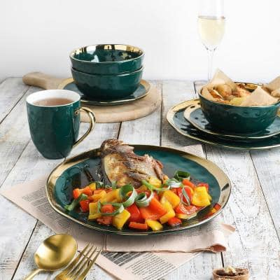 32-Piece Dishes for 8-Gold and Green Florian Modern Porcelain Dish Set