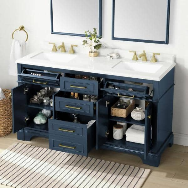 Home Decorators Collection Melpark 60 In W X 22 In D Bath Vanity In Grayish Blue With Cultured Marble Vanity Top In White With White Basins Melpark 60gb The Home Depot