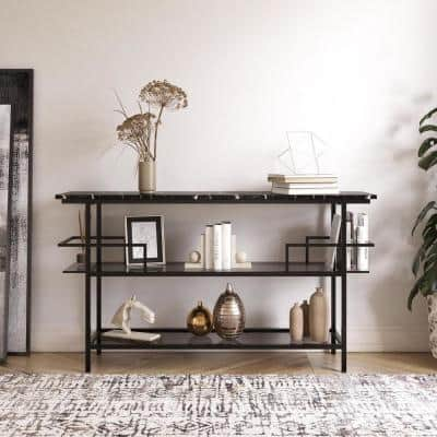 Barlow Console Unit, Black Faux Marble and Black Metal Frame