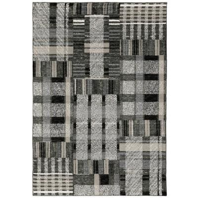 Audrey Black Grey 2 Ft X 8 Ft Geometric Runner Rug 000901 The Home Depot
