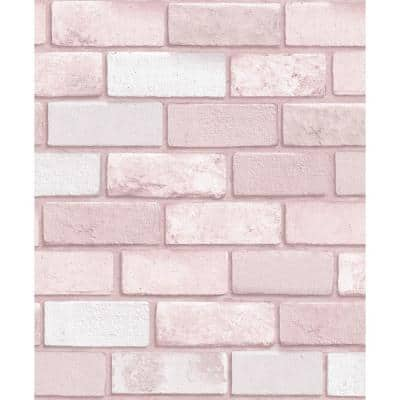 Diamond Pink Brick Vinyl Non-Pasted Wallpaper Roll (Covers 57 Sq. Ft.)