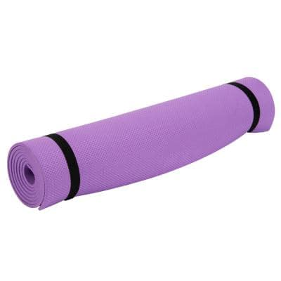 High-Density Fitness Mat, Purple Yoga Exercise Floor Covering, 1/4 Thick, 23.5 in. x 68 in. 11 sq. ft.
