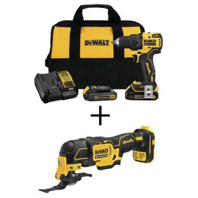 ATOMIC 20-Volt MAX Cordless Brushless Compact 1/2 in. Drill/Driver, (2) 20-Volt 1.3Ah Batteries & Oscillating Tool