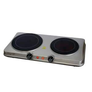 Portable 2-Burner 7.5 in. Sleek Steel Hot Plate with Temperature Control