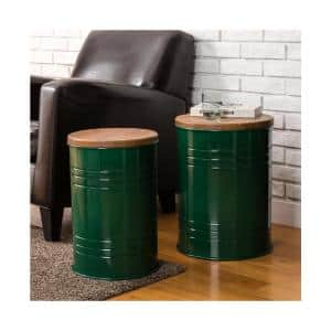 Set of 2 Modern Metal Storage Accent Table or Stool with Solid Wood Lid - Hunter Green