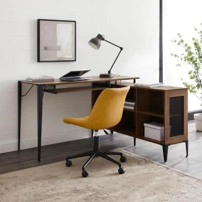 52 in. L-Shaped Reclaimed Barnwood Computer Desks with Keyboard Tray
