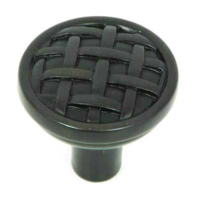Basket Weave 1-3/8 in. Oil Rubbed Bronze Round Cabinet Knob