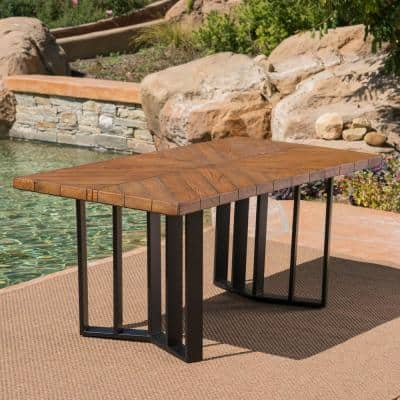 Verona Textured Brown Rectangular Light-Weight Concrete Outdoor Dining Table