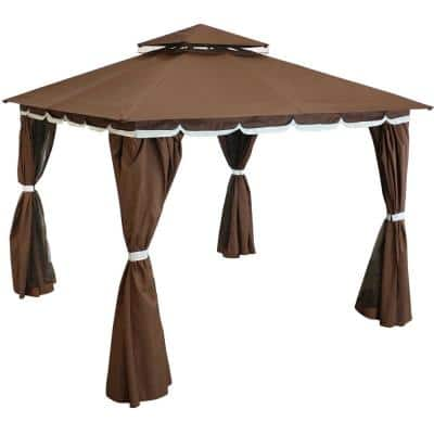 10 ft. x 10 ft. Soft Top Brown Gazebo with Mesh Screen and Privacy Walls