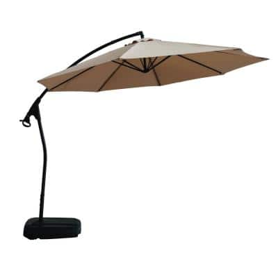 11 ft. Outdoor Patio Market Umbrella Beach Umbrella in Champagne with Crank and Base